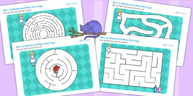 Alice in Wonderland Differentiated Maze Activity Sheet Pack - mazes , worksheet