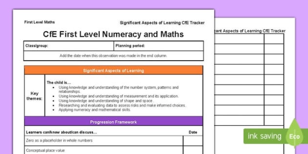Numeracy and Mathematics Significant Aspects of Learning and Progression Framework CfE First Level Tracker-Scottish