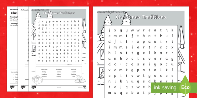 Christmas Traditions Word Search Activity Sheet - Amazing Fact Of The Day, activity sheets, powerpoint, starter, morning activity, December, Christmas