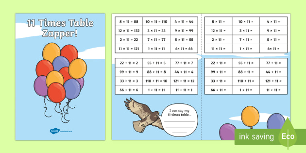 11 Times Table with Division Zapper