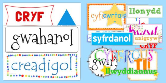 Ansoddeiriau Ysbrydoledig Display Cut Outs-Welsh