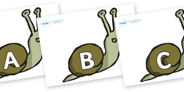 A-Z Alphabet on Snails - A-Z, A4, display, Alphabet frieze, Display letters, Letter posters, A-Z letters, Alphabet flashcards