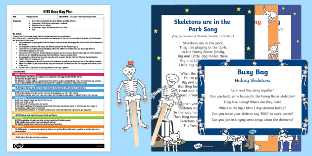 EYFS Hiding Skeletons Busy Bag Plan and Resource Pack