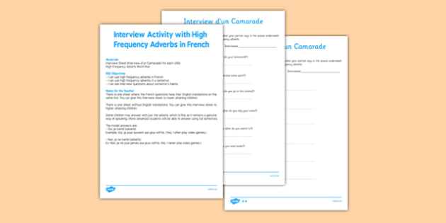 Activité d'interview avec les adverbes de fréquence - interview, activity, high frequency words, adverbs, french