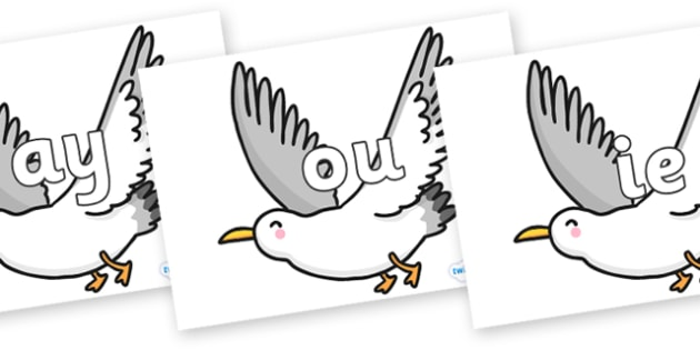 Phase 5 Phonemes on Seagulls - Phonemes, phoneme, Phase 5, Phase five, Foundation, Literacy, Letters and Sounds, DfES, display