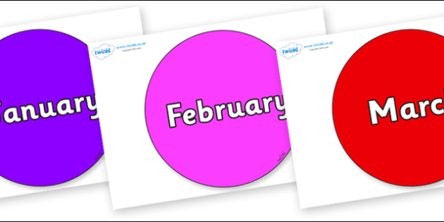 Months of the Year on Circles - Months of the Year, Months poster, Months display, display, poster, frieze, Months, month, January, February, March, April, May, June, July, August, September