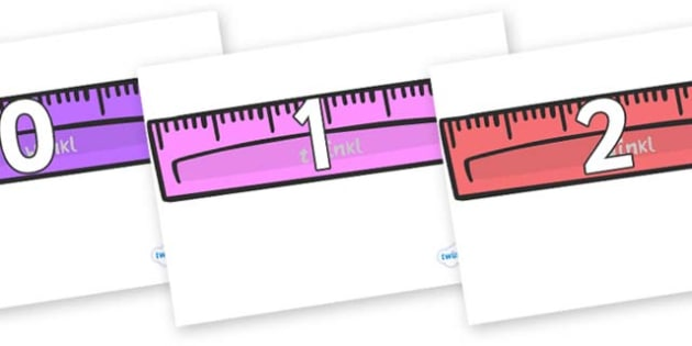 Numbers 0-50 on Rulers - 0-50, foundation stage numeracy, Number recognition, Number flashcards, counting, number frieze, Display numbers, number posters