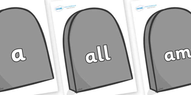 Foundation Stage 2 Keywords on Grave Stones - FS2, CLL, keywords, Communication language and literacy,  Display, Key words, high frequency words, foundation stage literacy, DfES Letters and Sounds, Letters and Sounds, spelling