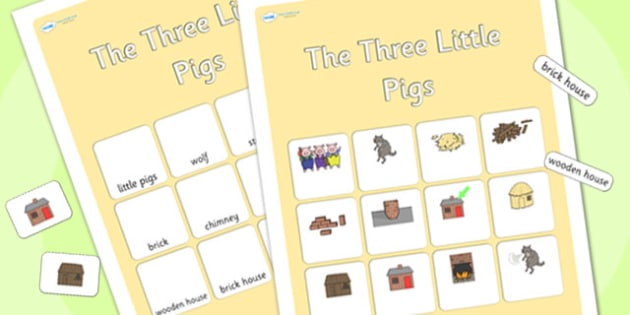 The Three Little Pigs Vocabulary Matching Mat - the three little pigs,  vocabulary poster, vocabulary, display poster, information poster, poster, display