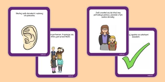 Karty z instrukcjami Wyjście szkolne po polsku - wycieczka