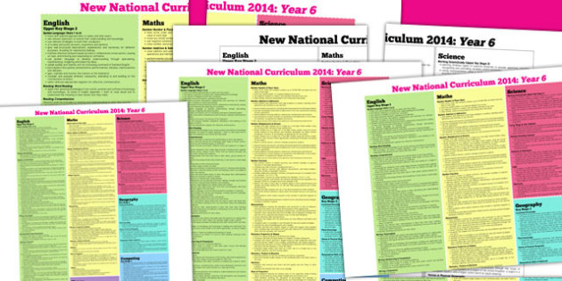 KS2 2014 Curriculum Posters Year 6 - key stage two, year six