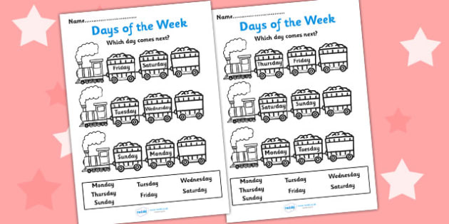 Days of the Week Worksheet - days of the week, yesterday, tomorrow, worksheets, days of the week worksheet, work sheet, week days, days worksheets, weeks