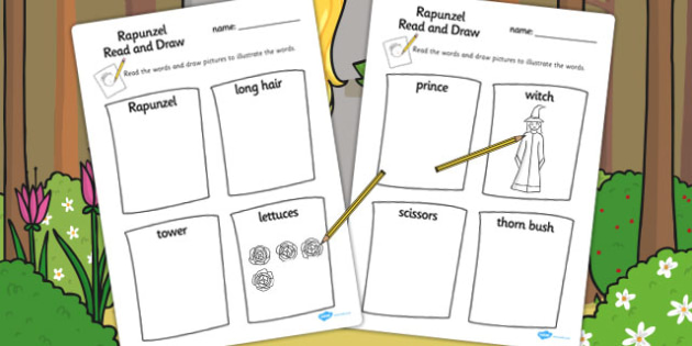 Rapunzel Read and Draw Worksheets - read, draw, rapunzel, sheet
