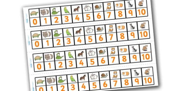 Pets Number Track (1-10) - Maths, Math, number track, farm, numbertrack, Counting, Numberline, Number line, Counting on, Counting back, farm, cat, dog, rabbit, mouse, guinea pig, rat, hamster, gerbil, horse, puppy, kitten, snake, chinchilla, snail, l
