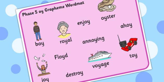 Phase 5 oy Grapheme Word Mat - phase five, graphemes, literacy