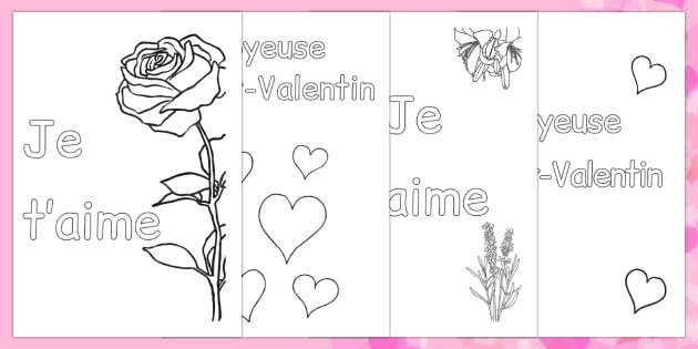 Valentine's Day Card Colouring Templates French - french, Valentine's Day, Valentine, love, Saint Valentine, heart, kiss, colouring, fine motor skills, poster, worksheet, vines, A4, display, cupid, gift, roses, card, flowers, date, letter