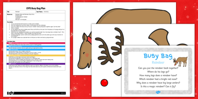 Reindeer EYFS Busy Bag Plan and Resource Pack - reindeer, eyfs, busy bag, plan, resource, pack