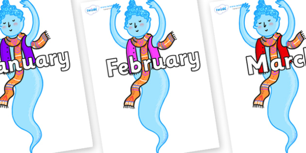 Months of the Year on Genie of the Ring - Months of the Year, Months poster, Months display, display, poster, frieze, Months, month, January, February, March, April, May, June, July, August, September