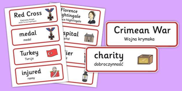 Florence Nightingale Word Cards Polish Translation - polish, florence nightingale, word cards