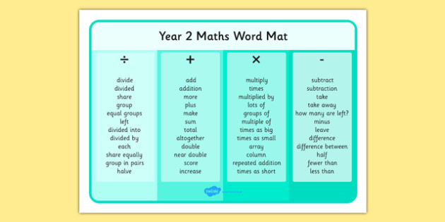 Year 2 Maths Operations Word Mat - year 2, maths, operations, word mat, word, mat