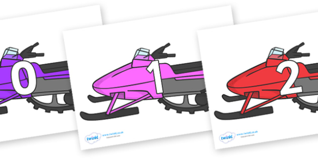 Numbers 0-100 on Snowmobiles - 0-100, foundation stage numeracy, Number recognition, Number flashcards, counting, number frieze, Display numbers, number posters
