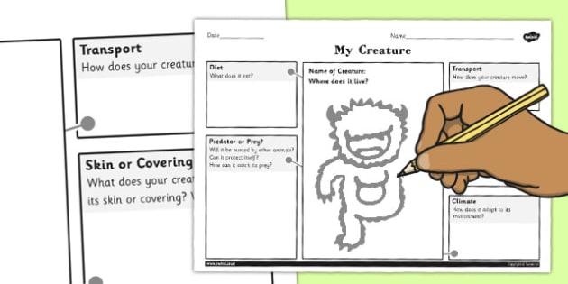 Design a Creature for a Habitat Activity Sheet - habitat, design, worksheet