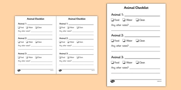 Noah's Ark Role Play Animal Checklist - Noah's ark, role play
