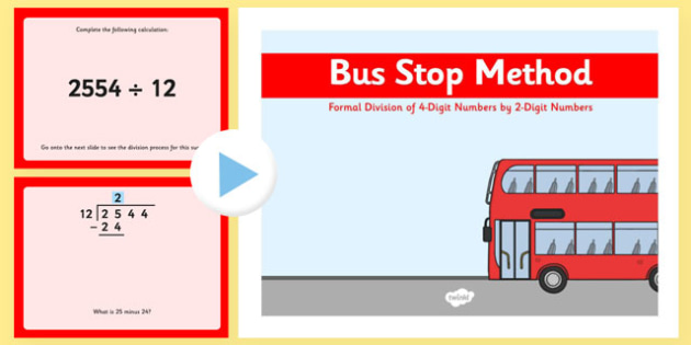 Formal Division of 4 Digit Numbers by 2 Digit Numbers Bus Stop Method PowerPoint - formal division, 4-digit