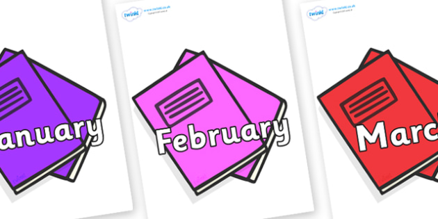 Months of the Year on Exercise Books - Months of the Year, Months poster, Months display, display, poster, frieze, Months, month, January, February, March, April, May, June, July, August, September