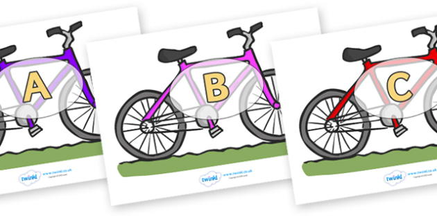 A-Z Alphabet on Bicycles - A-Z, A4, display, Alphabet frieze, Display letters, Letter posters, A-Z letters, Alphabet flashcards