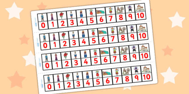 Sleeping Beauty Number Track 0 10 - sleeping beauty, number track, numberline, number line, number strip, counting on, counting back, counting, maths aid
