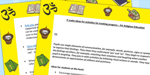 P Scales Ideas for Activities for Tracking Progress P4 RE - RE