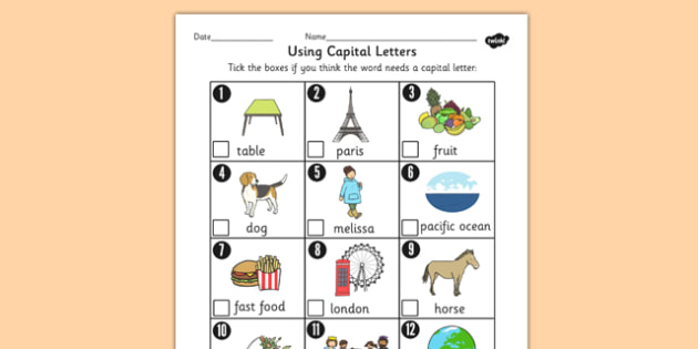 Using Capital Letters Worksheet - capital letters, worksheet