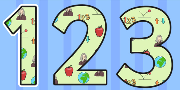Isaac Newton Themed Display Numbers - isaac newton, display numbers, numbers, numbers for display, themed numbers, classroom display, numbers for display