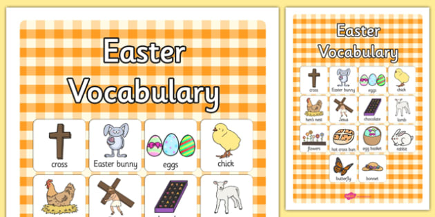 Easter Vocabulary Poster - easter, vocabulary, display, poster