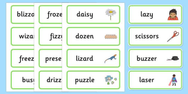 Medial 'z' Word Cards - speech sounds, phonology, articulation, ,speech therapy, dyspraxia
