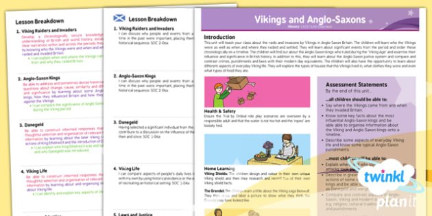 Planit - History LKS2 - Vikings and Anglo-Saxons Planning Overview CfE - vikings, anglo, saxons, ks2, history, 2014, planning