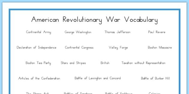 USA Revolutionary War Vocabulary Word Mat - US Resources, Revolutionary War, Vocabulary, united, states