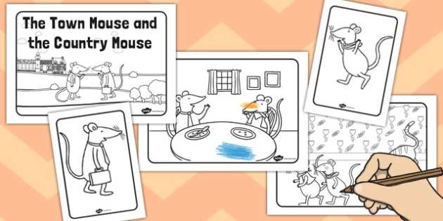 The Town Mouse and the Country Mouse Colouring Sheets - colour