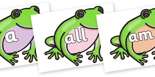 Foundation Stage 2 Keywords on Green Tree Frog - FS2, CLL, keywords, Communication language and literacy,  Display, Key words, high frequency words, foundation stage literacy, DfES Letters and Sounds, Letters and Sounds, spelling