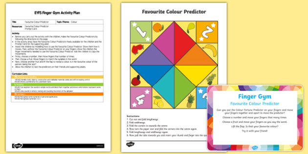 EYFS Favorite Colour Predictor Finger Gym Plan and Resource Pack