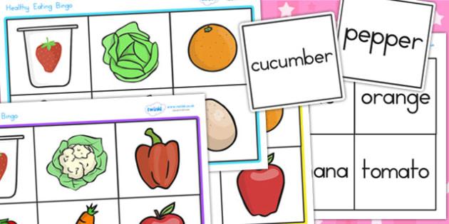 Healthy Eating Food Bingo - health, healthy food, bingo, lotto
