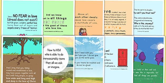 New Testament Bible Scripture Motivational Poster Pack - motivational