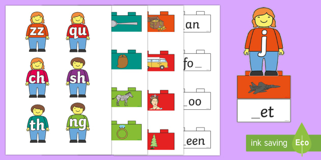 Phase 3 Toy Figures Phonics Matching Game - EYFS, Early Years, Toys, building blocks, building bricks, Lego, Letters and Sounds, Phonics, Phase