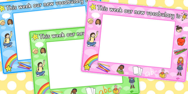This Week Our New Vocabulary is Signs - vocabulary, signs, week