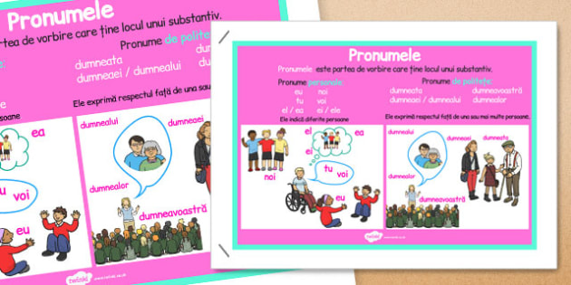 Pronumele, Plansa - parti de vorbire, definite pronume, exemple