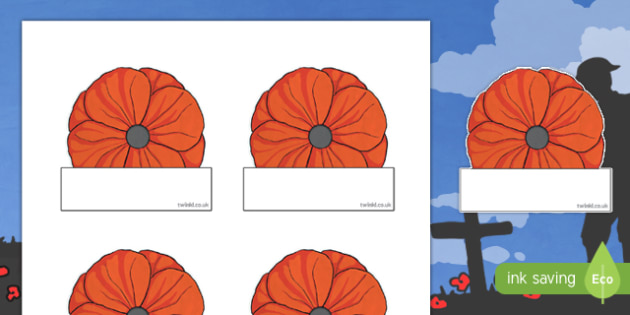 Remembrance Day Poppy Labels Topic Words on Topic Images