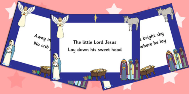 Away In A Manger Christmas PowerPoint - christmas, carols