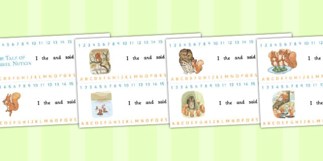 The Tale of Squirrel Nutkin Combined Number and Alphabet Strips
