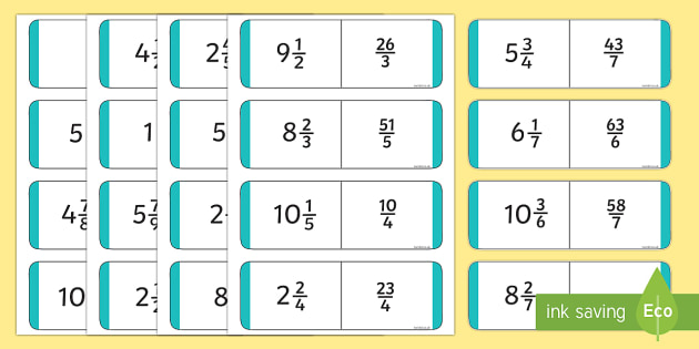 UKS2 Mixed Number and Improper Fractions Dominoes